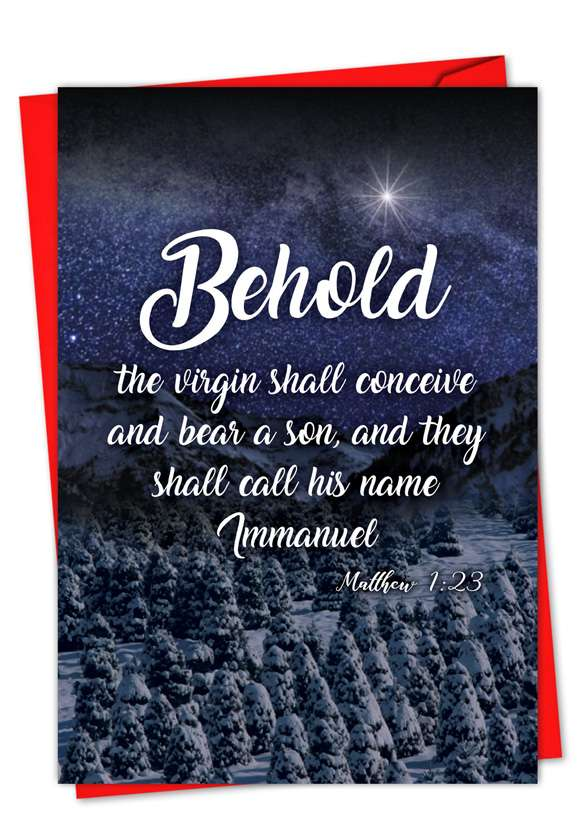 Christmas Quotes Matt 1:23: Stylish Christmas Paper Card