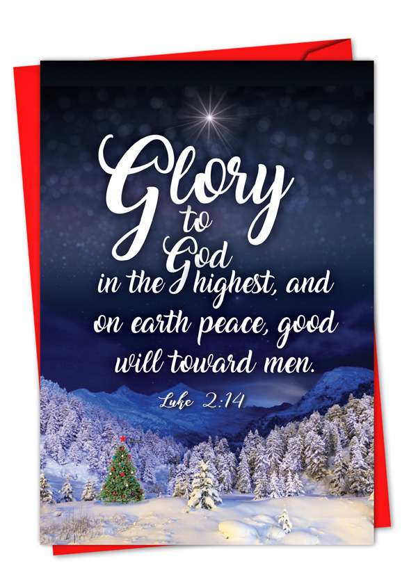 Christmas Quotes Luke 2:14: Creative Christmas Paper Greeting Card