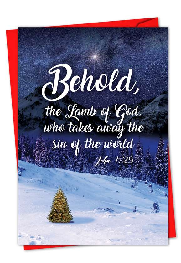 Christmas Quotes John 1:29: Creative Christmas Paper Card