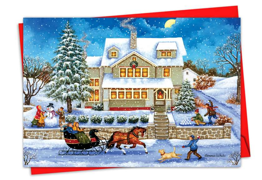 Old Town: Stylish Christmas Paper Greeting Card