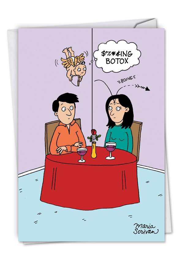 Botox Cupid: Humorous Valentine's Day Paper Card
