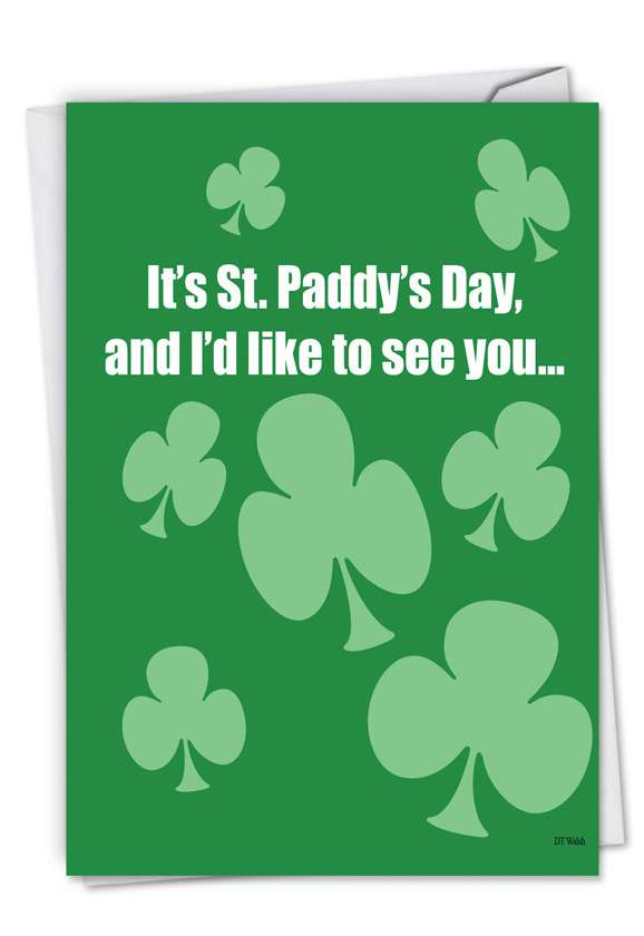 Drunk and Naked: Hilarious St. Patrick's Day Printed Greeting Card