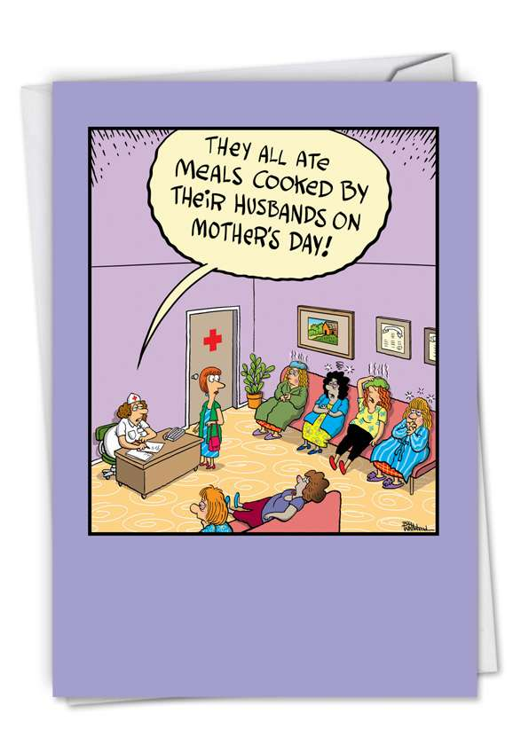 Sick Mother's Day Husband Cooking Cartoon Greeting Card