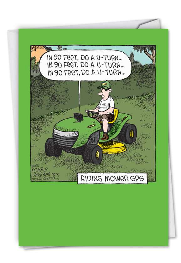 Riding Mower GPS: Hysterical Father's Day Paper Card