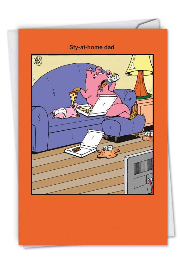 Sty-At-Home Dad: Humorous Father's Day Paper Greeting Card