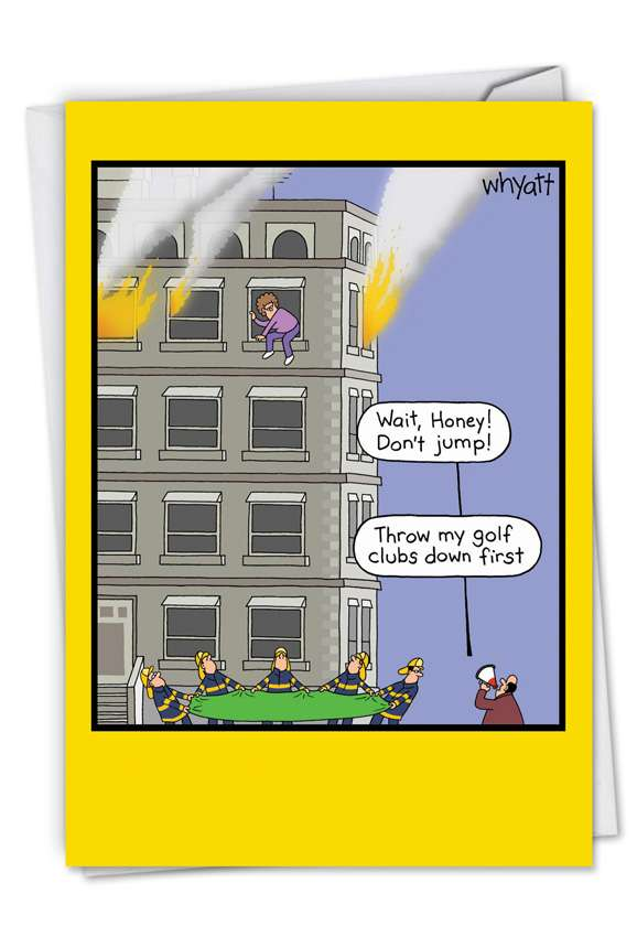 Golf Clubs Fire: Humorous Anniversary Printed Card