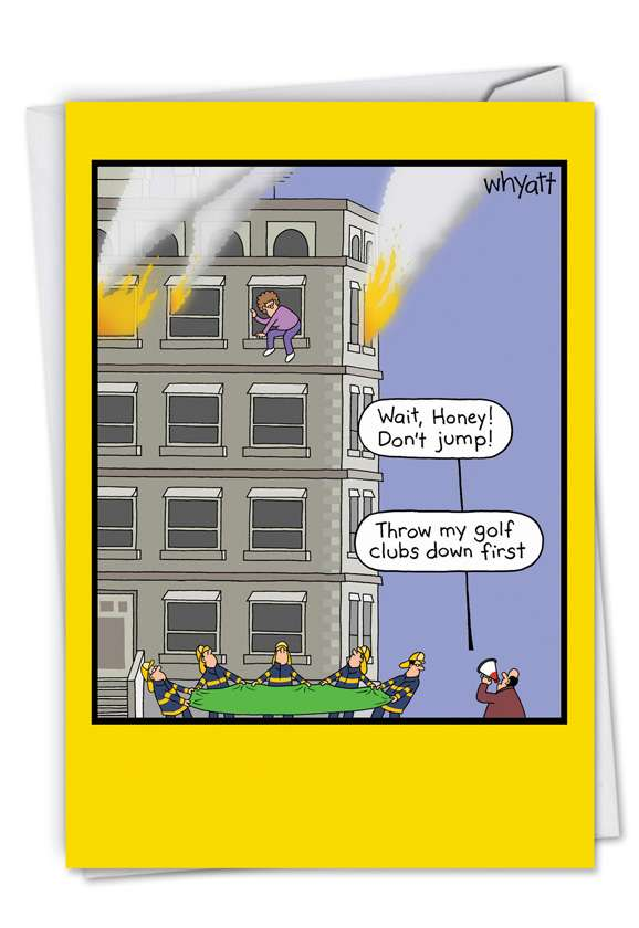 Golf Clubs Fire: Hysterical Father's Day Paper Greeting Card