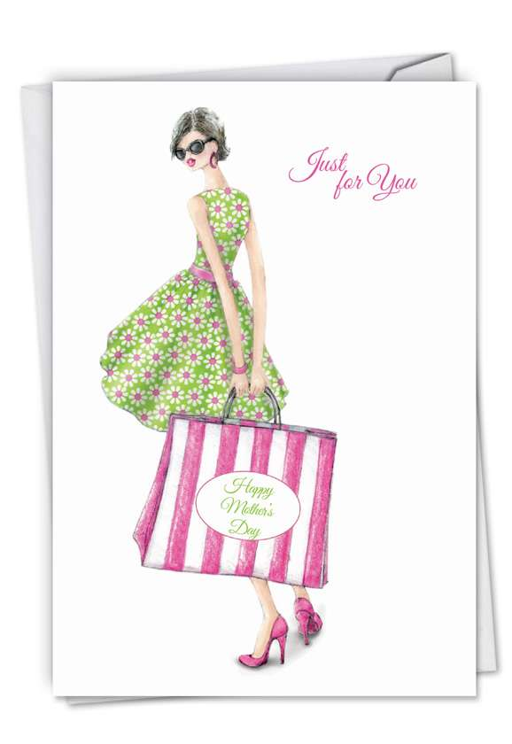 Stripe Bag Girl: Stylish Mother's Day Greeting Card