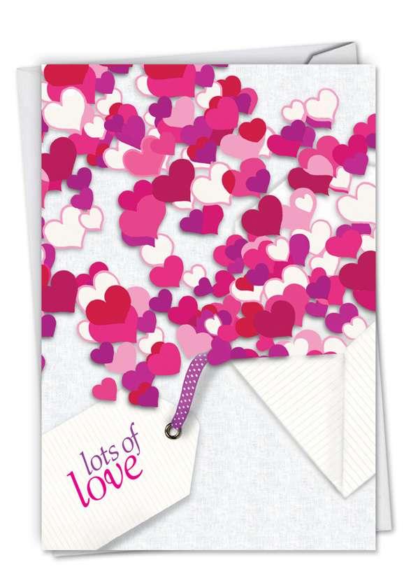 Creative Valentine's Day Printed Greeting Card by Deborah Koncan from NobleWorksCards.com - Hearts In Envelope