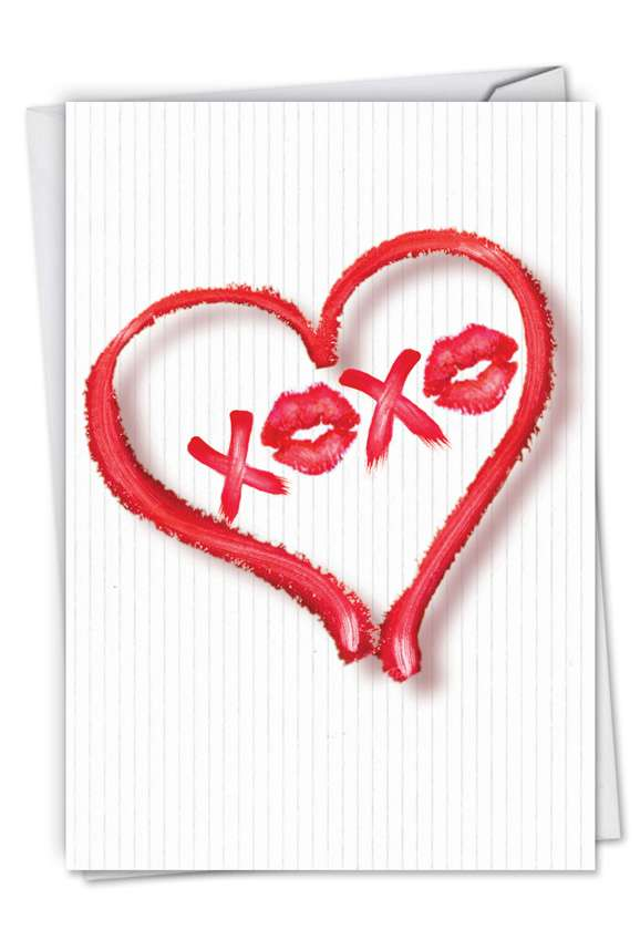 Stylish Valentine's Day Paper Card by Deborah Koncan from NobleWorksCards.com - Heart XOXO