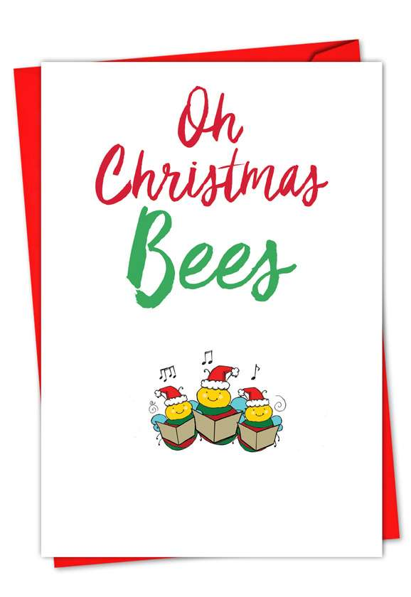 It Was The Pun Before Christmas - Bees: Stylish Christmas Paper Card