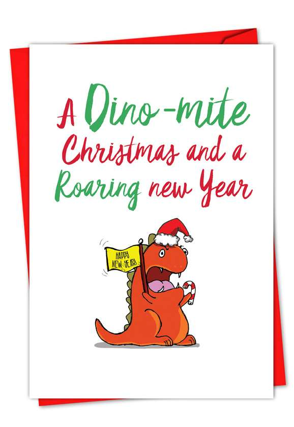 It Was The Pun Before Christmas - Dino: Stylish Christmas Greeting Card