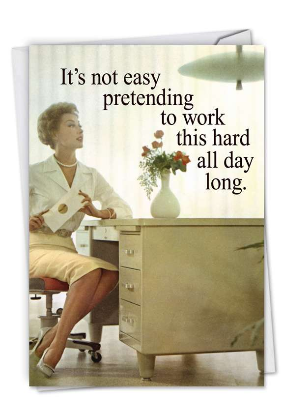 Old School Secretary: Hilarious Administrative Professionals Day Printed Greeting Card