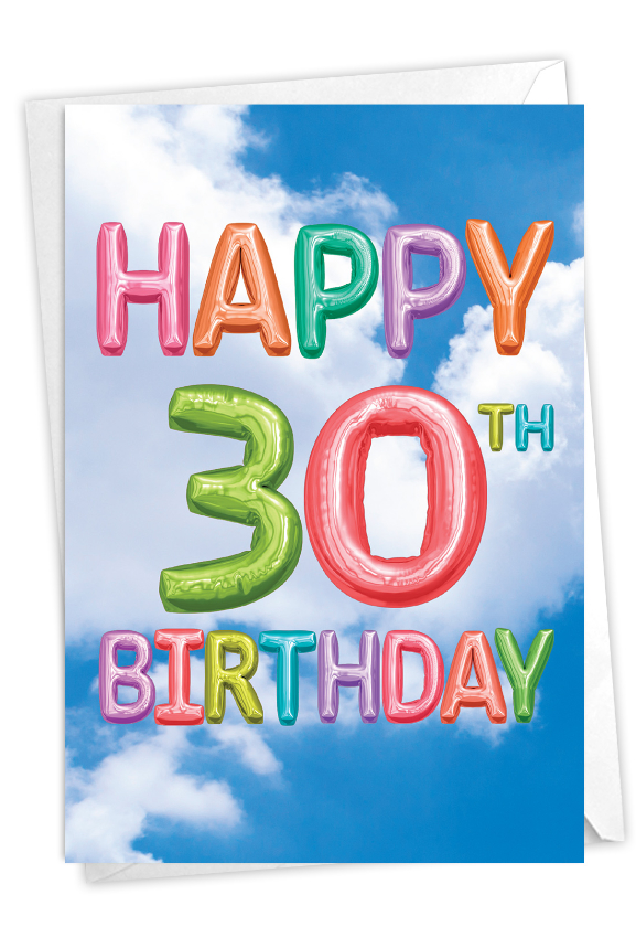 Inflated Messages - 30: Stylish Milestone Birthday Paper Card