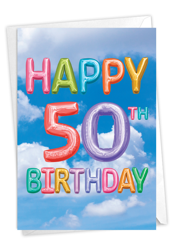 Inflated Messages - 50: Stylish Milestone Birthday Card