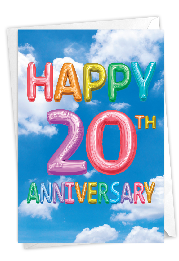 Inflated Messages - 20: Creative Milestone Anniversary Greeting Card