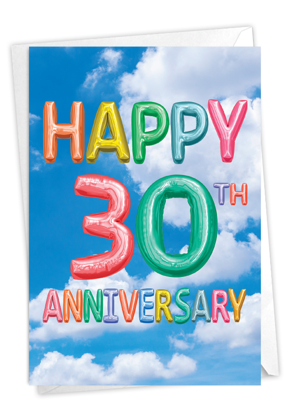 Inflated Messages - 30: Creative Milestone Anniversary Printed Card