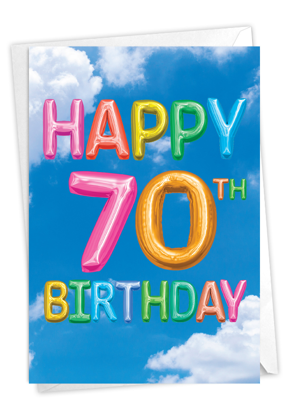 Inflated Messages - 70: Stylish Milestone Birthday Paper Greeting Card