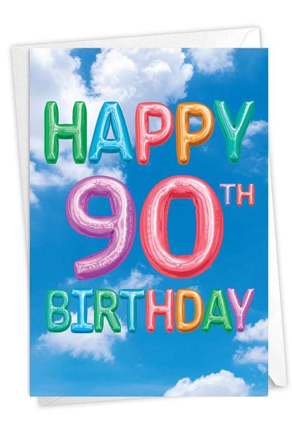 Inflated Messages - 90: Stylish Milestone Birthday Paper Card