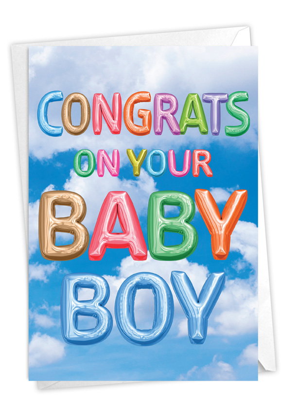 Inflated Messages - Baby Boy: Stylish Baby Card
