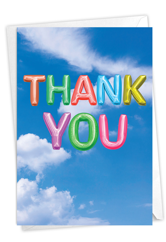 Inflated Messages - Thank You: Stylish Thank You Paper Greeting Card