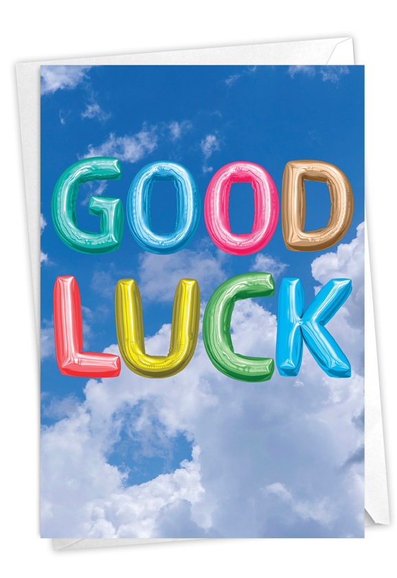 Inflated Messages - Good Luck: Stylish Good Luck Paper Card