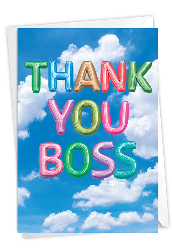 Inflated Messages - Thank You Boss: Stylish Boss Thank You Paper Greeting Card