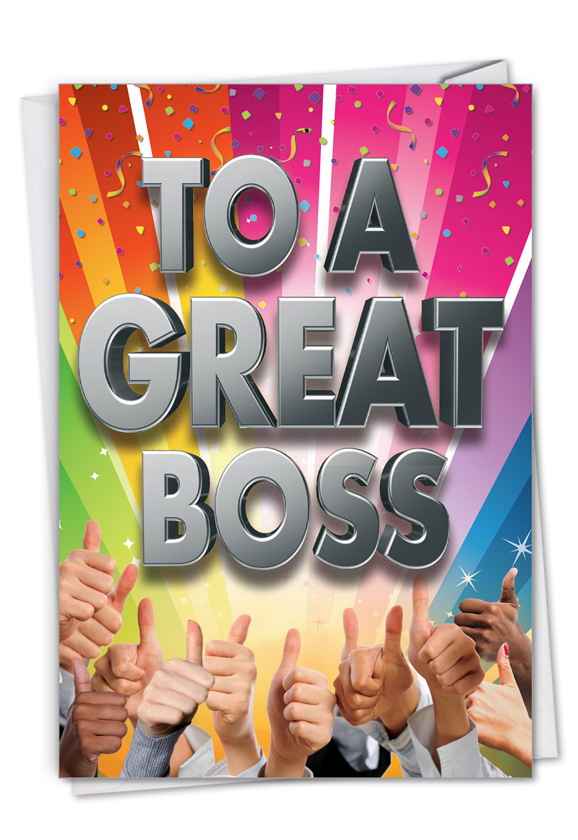 Great Boss: Hysterical Boss Thank You Printed Greeting Card