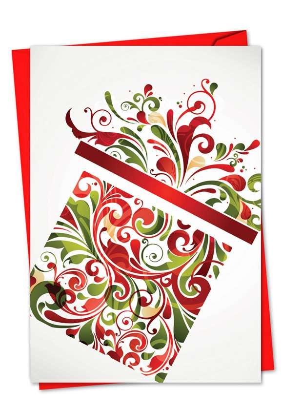 Seasonal Swirls: Stylish Christmas Paper Card