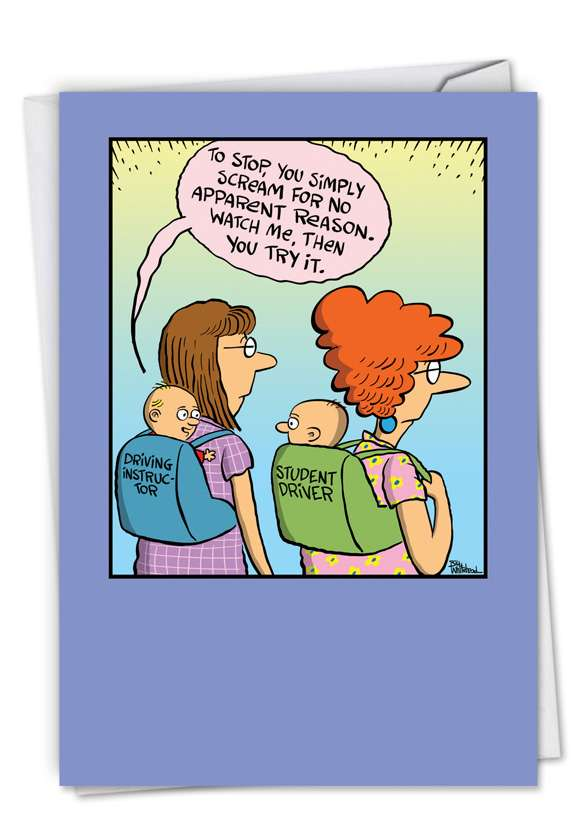 Baby Student Driver: Humorous Baby Paper Greeting Card