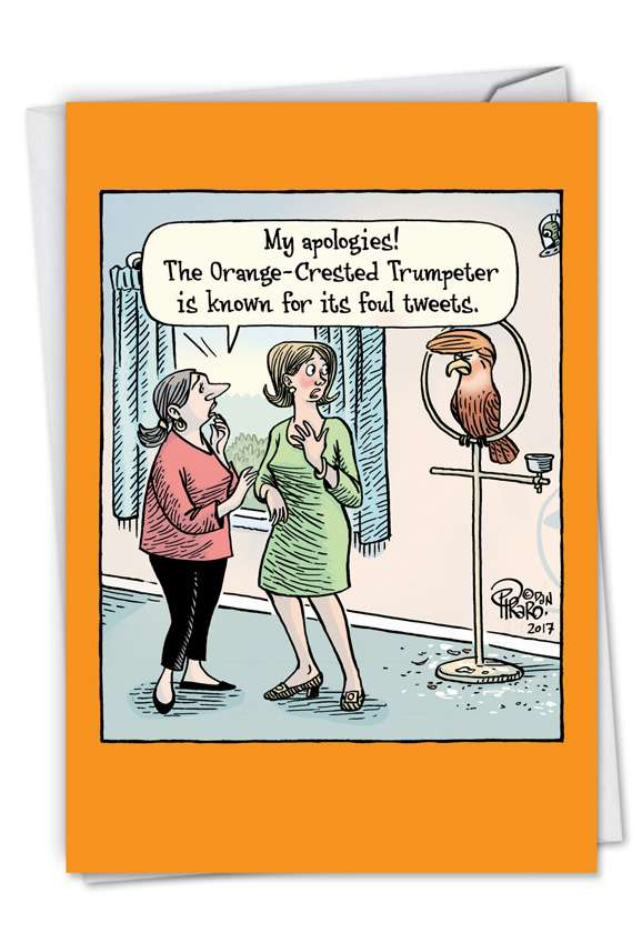 Orange-Crested Trumpeter: Funny Birthday Printed Greeting Card