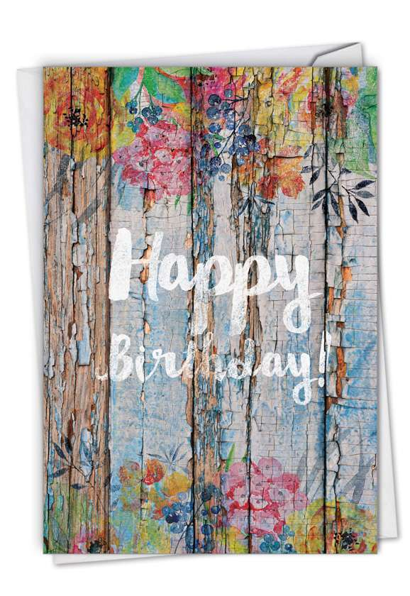 Blooming Driftwood - Birthday: Stylish Birthday Paper Greeting Card