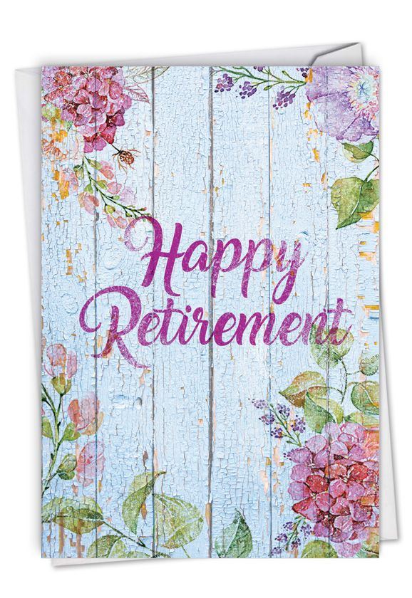 Blooming Driftwood - Retiree: Stylish Retirement Card