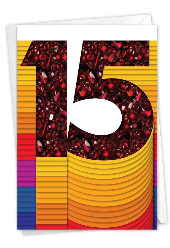 Bold Milestones - 15: Humorous Milestone Anniversary Paper Greeting Card