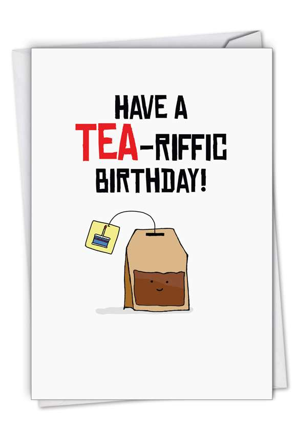 Birthday Puns-Tea: Stylish Birthday Paper Greeting Card