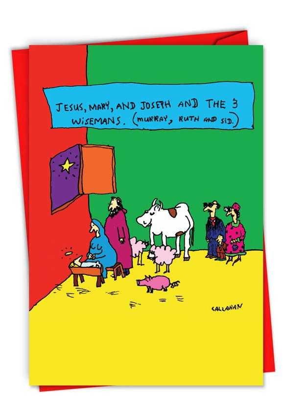 John Callahan's The 3 Wisemans: Humorous Merry Christmas Paper Card