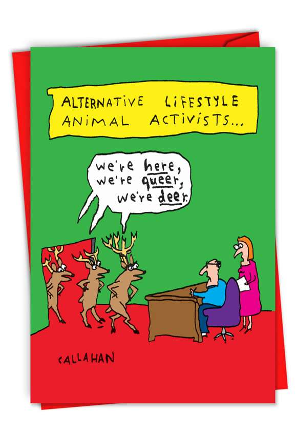 John Callahan's Alternative Activists: Funny Merry Christmas Paper Greeting Card