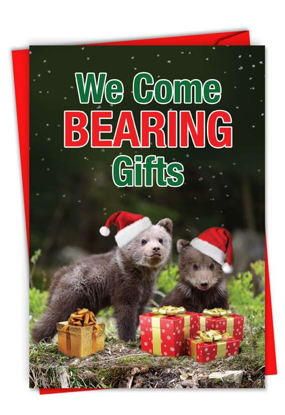 Bearing Gifts: Hilarious Merry Christmas Printed Greeting Card