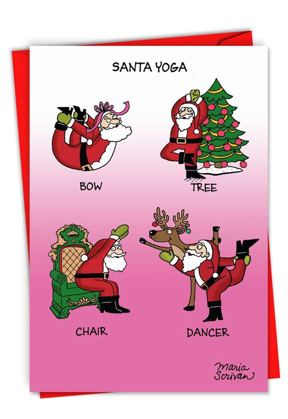 Humorous Merry Christmas Paper Greeting Card By Maria Scrivan From NobleWorksCards.com - Santa Yoga