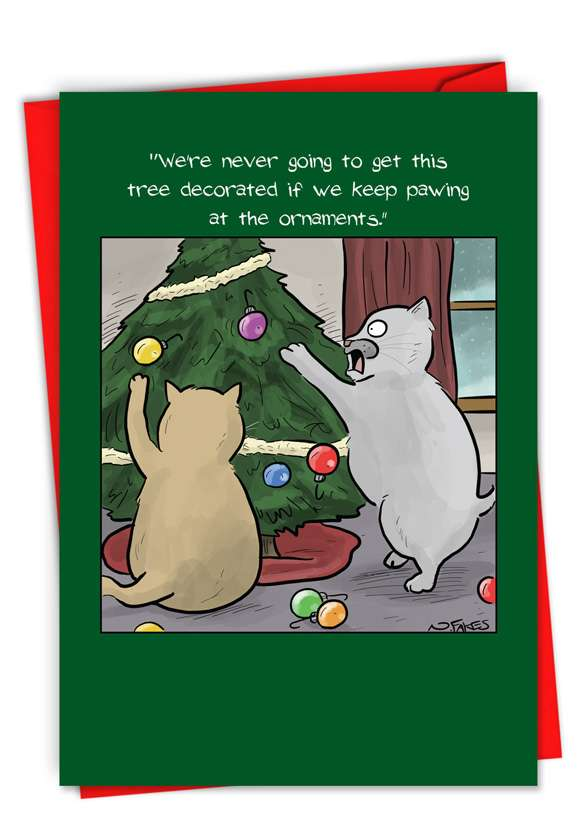 Cats Decorating Tree: Humorous Merry Christmas Paper Card