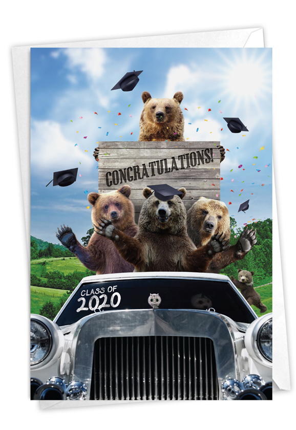 Bear Mascot - 2020: Creative Graduation Printed Greeting Card