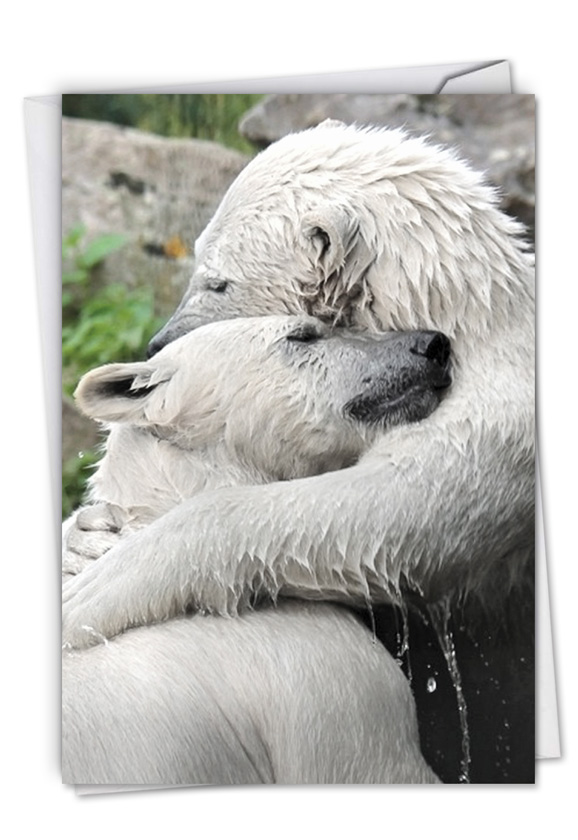Stylish Friendship Paper Greeting Card From NobleWorksCards.com - Bear Hugs