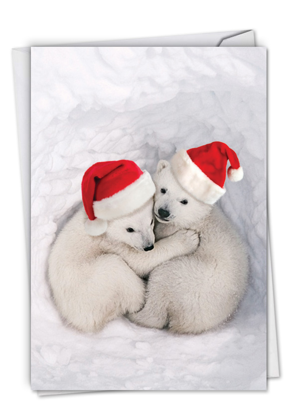 Bear Hugs: Creative Merry Christmas Printed Greeting Card