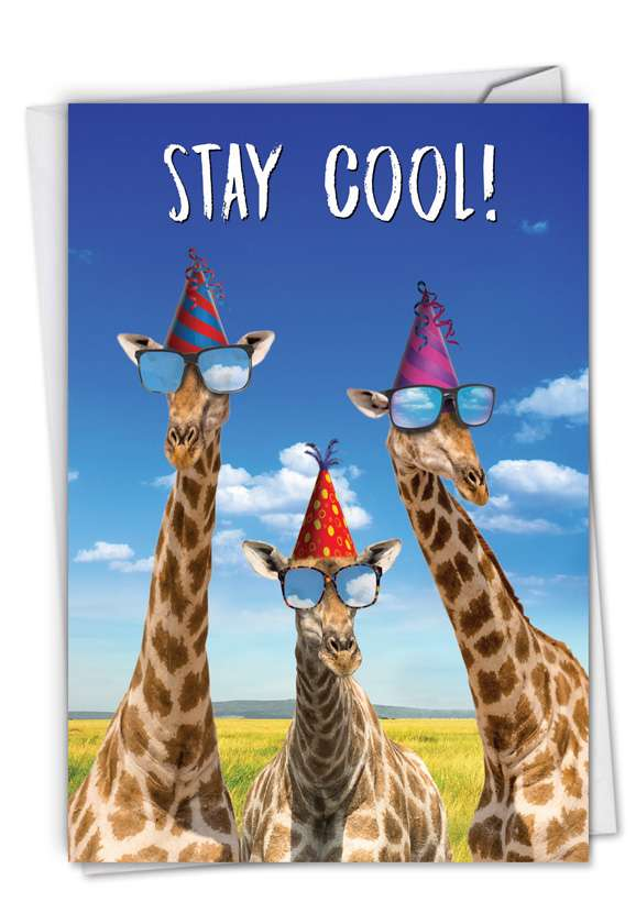 Cool Giraffes: Hilarious Birthday Printed Card