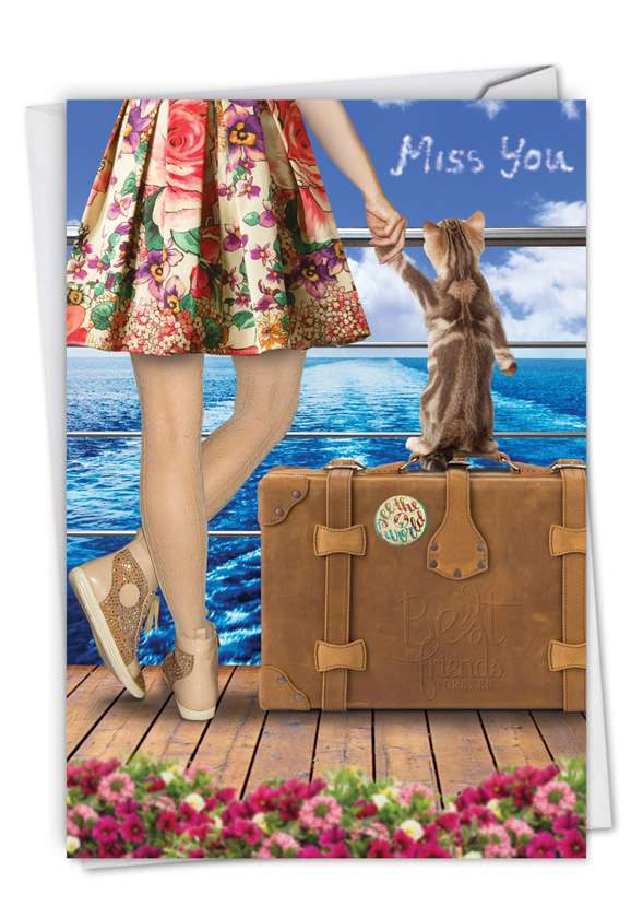 Cat and Friend: Whimsical Miss You Printed Greeting Card