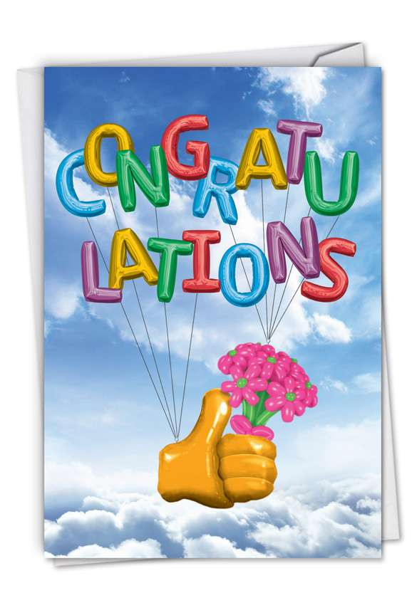 Thumbs-Up Balloons: Hilarious Congratulations Greeting Card
