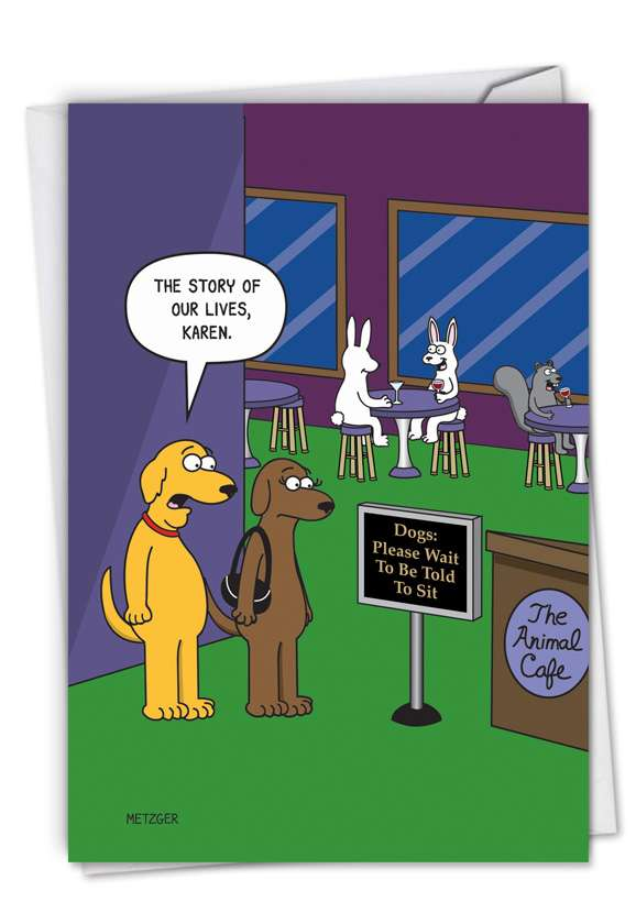 The Animal Cafe: Hilarious Birthday Printed Greeting Card