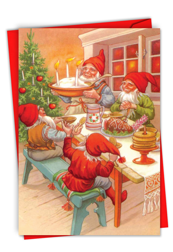 Gnome for the Holidays: Stylish Merry Christmas Paper Card