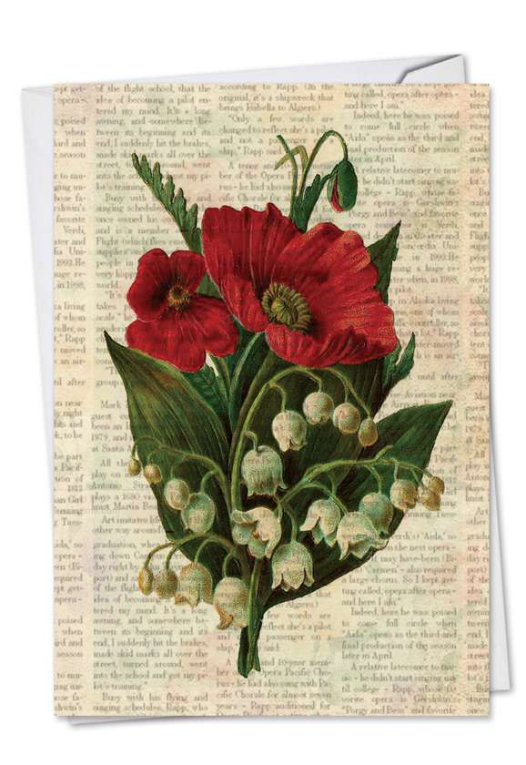 Flower Press: Stylish Sympathy Paper Greeting Card