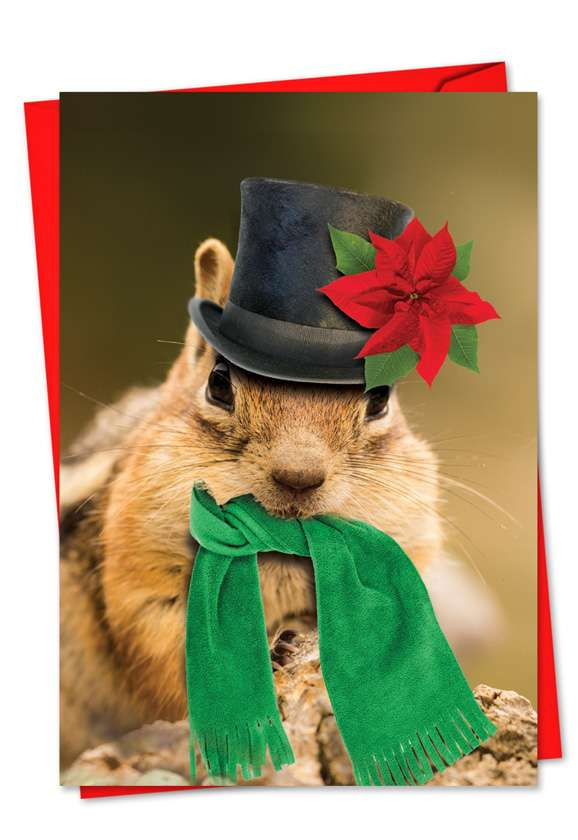Santa Capped Creatures: Creative Christmas Printed Greeting Card